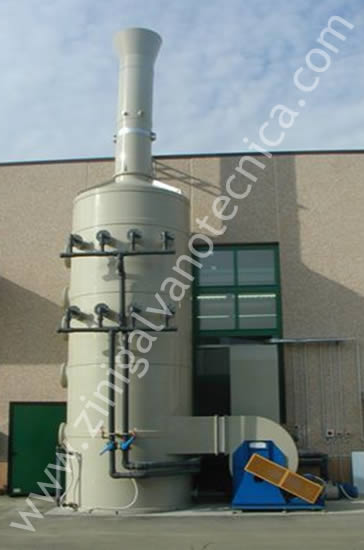 Smoke abatement tower made of pp/pvc