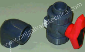 Valves and fittings made of PVC